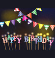 greetings happy birthday with the lights and vector image vector image
