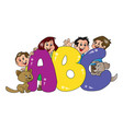 happy family with abc blocks in foreground vector image