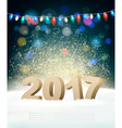 Holiday background with 2017 and garland vector image