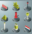 holland color isometric icons vector image