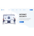 internet security landing web page vector image