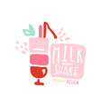 milk shake logo template in pink colors badge for vector image vector image