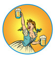 oktoberfest beer woman waitress in traditional vector image vector image