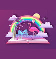 open fairy tale book with flamingo vector image vector image