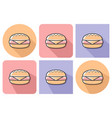 outlined icon of cheeseburger with parallel and vector image