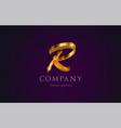 r gold golden alphabet letter logo icon design