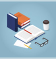 reading books isometric vector image vector image
