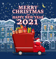 santa claus van with text merry christmas vector image vector image
