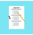 School exam test with pen and eraserFlat vector image