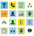set of 16 management icons includes business vector image vector image