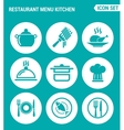set of round icons white Restaurant menu kitchen vector image