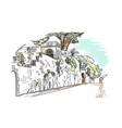 sketch european city croatia town wall building vector image vector image