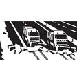 Snow plow trucks clear highway vector image vector image