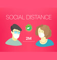 social distance banner with people and text vector image