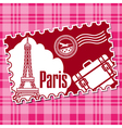 Stamp with the sightseeing on the Eiffel tower vector image