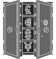 stencil of safe with currency signs vector image vector image