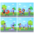 students in park and people family set vector image vector image