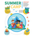 summer camp - colorful flat design style poster vector image