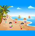 summer view with a grup of children playing vector image vector image