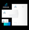 three pipes logo factory identity vector image vector image