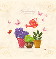 vintage card with collection of delicious herbs vector image vector image