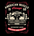 vintage muscle carwith big super charger engine vector image vector image