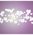 White paper hearts Valentines day card on violet vector image vector image