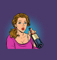 woman drinking wine from a bottle loneliness and vector image vector image