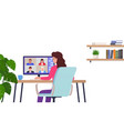 woman works remotely home office character sits vector image vector image