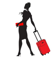 young womenstewardess silhouette vector image vector image