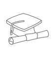 graduation cap and diploma rolled finish education vector image