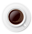 white mug of coffee with foam and saucer on white vector image