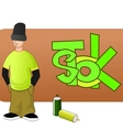 Young graffiti man vector image