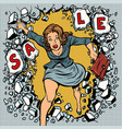 a woman runs for sales breaking the wall vector image vector image