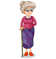 An old woman with a cane vector image vector image