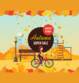 autumn super sale background with colorful vector image