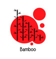 bamboo trees and red sun nature vector image