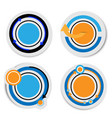 banner blue and orange circle with shadow on white vector image vector image