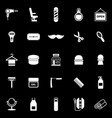 barber icons on black background vector image