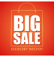 big sale shop now shopping bag in outline style vector image vector image