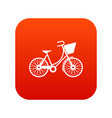 bike with luggage icon digital red vector image vector image