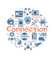 blue round connection concept vector image vector image