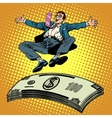 Business success businessman money trampoline vector image vector image