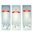 Christmas winter landscape banners vector image vector image