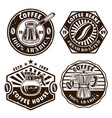coffee set four emblems badges labels vector image vector image