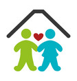 color pictogram with couple in home vector image vector image