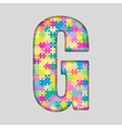 Color Piece Puzzle Jigsaw Letter - G vector image