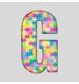 Color Piece Puzzle Jigsaw Letter - G vector image
