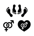 Couple sex making love icons set vector image