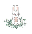 cute hand drawn bunny on eucaliptus branches vector image vector image